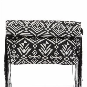 Handbags - Black & white Aztec print clutch